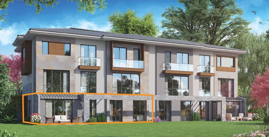 E161 - 161 m²  3+ 1 Bahçeli Tek Kat