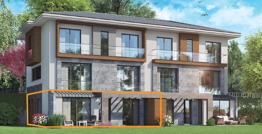 F106 - 106 m²  2+ 1 Bahçeli Tek Kat